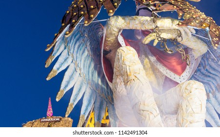 VIAREGGIO, ITALY - FEBRUARY 2013: Famous carnival parade. Viareggio carnival is the most famous in Tuscany.