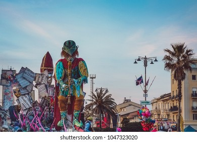 VIAREGGIO, ITALY - FEBRUARY 21: Festival, the parade of carnival floats with dancing people on streets of Viareggio. February 11, 2017, taken in Viareggio, Italy