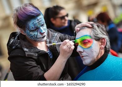 VIAREGGIO, ITALY - FEBRUARY 23, 2020: The parade of carnival floats on streets of Viareggio, Italy. Carnival of Viareggio is considered one of the most important carnivals in Italy.