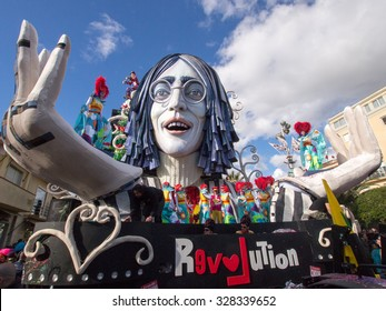 VIAREGGIO, ITALY - FEBRUARY 23:   allegorical float of John Lennon at Viareggio Carnival held February 23, 2014