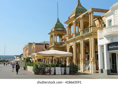 Viareggio, Italy - June 28, 2015: Tourists walking on the street. Viareggio is the famous resort on the coast of the Ligurian Sea. Province Lucca, Tuscany region of Italy