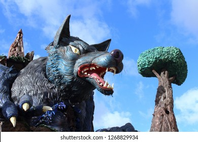 Viareggio, Italy. March 5, 2017. Wolf giant papier allegorical float ready for parade at italian carnival street festival