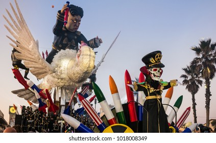 VIAREGGIO, ITALY-JAN.27, 2018: Opening parade of the 145th edition of the carnival  in Viareggio, Italy. The carnival of Viareggio is very popular grand parades of large  floats with dancing people.