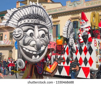 "Viareggio, Italy.March 2019.  carnival. among the masks there is ""the burlamacco"" typical mask of Viareggio. 2019 Carnival of Viareggio, Tuscany, Italy"