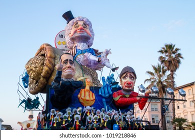 Viareggio, January 2018: Caricature of The Five Star Movement (Italian political party) in carnival parade of floats and masks, made of paper-pulp, on January 2018 in Viareggio, Tuscany, Italy