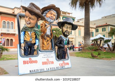 Viareggio, January 2018: Caricature of Italian politicians Beppe Grillo, Matteo Renzi and Matteo Salvini  in carnival parade of floats and masks, on January 2018 in Viareggio, Tuscany, Italy
