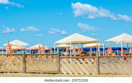 Viareggio sand beach, Versilia,Tuscany, Italy.