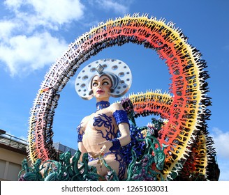 Viareggio, Tuscany Italy. March 5, 2017. Woman giant papier mache float for the famous italian carnival street festival