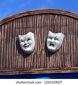 Viareggio, Tuscany Italy. March 5, 2017. Allegorical float details, close up theater masks comedy and tragedy