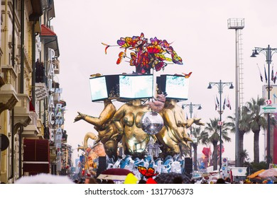 VIAREGGIO,ITALY-09: first parade of the 2019 edition of the viareggio's carnival. the Carnival of Viareggio is considered one of the most important carnivals in Italy.