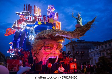 VIAREGGIO,ITALY-FEB.12.: first parade of the 2017 viareggio's carnival on the 12th february,2017. The satyrical carnival this year points finger to Donald Trump