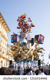 VIAREGGIO,ITALY-FEB.17,2019: mask and float takes part in the second parade of the 2019 edition of the viareggio's carnival
