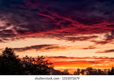 Vibrant afterglow of an Appalachian sunset, Webster County, West Virginia, USA