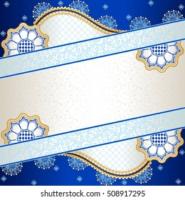 Vibrant blue banner inspired by Indian mehndi designs (jpg); eps10 version also available