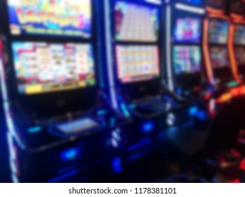 Vibrant Blurred image of slots machines at the Casino