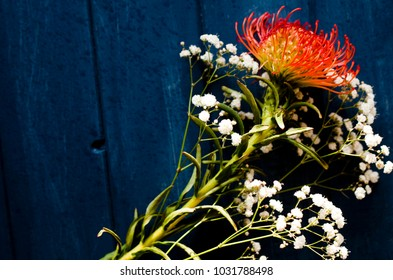 Vibrant bouquet of flowers on blue background. Image has strong color contrast.