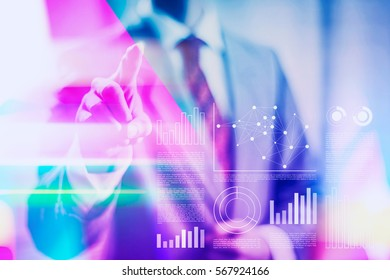 Vibrant business concept duotone illustration of a anonymous businessman