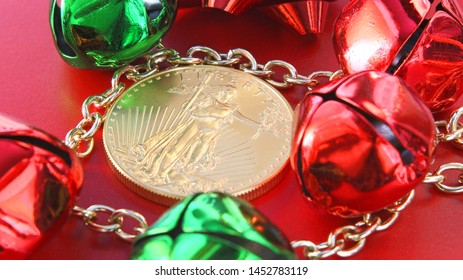 Vibrant Christmas Impressions With A United States One Ounce 50 Dollar Gold American Eagle Featuring No Date Surrounded By Golden Chains Connecting Red And Green Jingle Bells