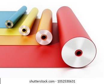 Vibrant colored adhesive films isolated on white background. 3D illustration.