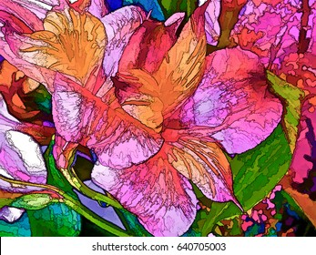 Vibrant and colorful fantasy abstract of lilies.
