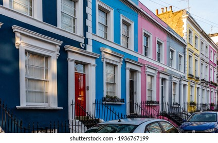 Vibrant and colorful houses in Notting Hill London. Shot on 14 March 2021. A London Iconic area.