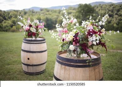 Wine Barrel With Flower Arrangements Images Stock Photos Vectors Shutterstock