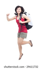 Vibrant and energetic portrait of an enthusiastic teenager heading back to college