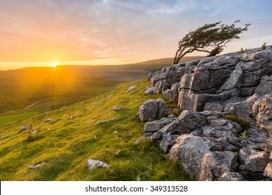 Vibrant Evening Sunset At Twistleton Scar In North Yorkshire, UK.