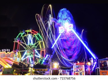 Vibrant Fairground Scene on an Autumn Night - September 2017 - Devon, England