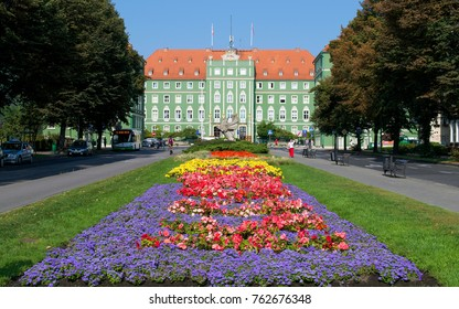 Vibrant gardens leading up to the City Council of Szczecin, Poland