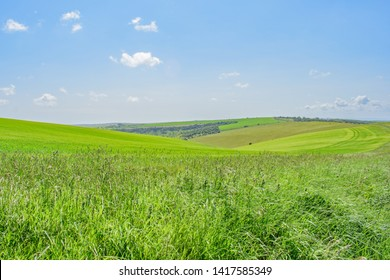 The vibrant green rolling sloping hills of Ditchling Beacon,England