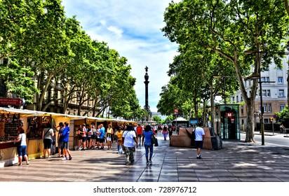 Vibrant La Rambla. Barcelona. La Rambla - major tourist attraction and place of recent terrorist attack. Photo taken 05-28-2017.