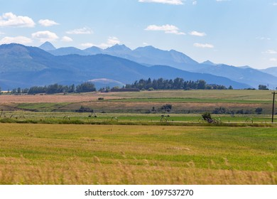 Vibrant landscape of rural countryside, mountains, and blue sky on a summer day in Montana.