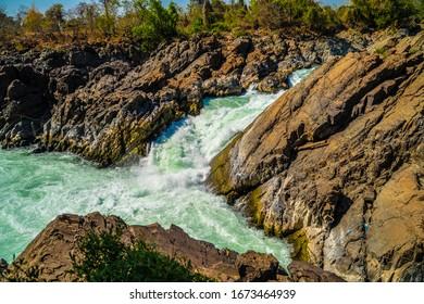 Vibrant LIPHI Waterfall in Laos Don Det