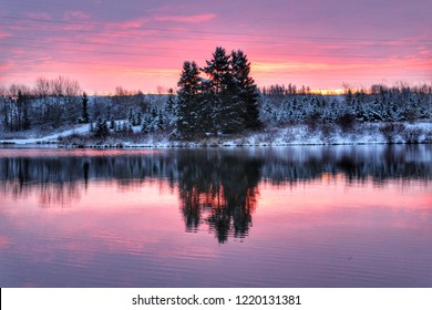 Vibrant Morning Sunrise In Edmonton