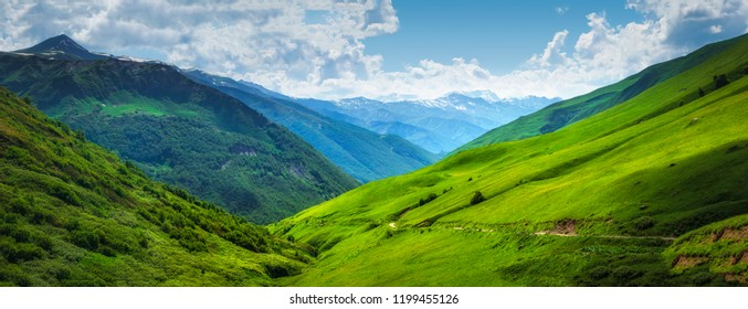 Vibrant mountain landscape. Green meadows on the high hills in Georgia, Svaneti region. Panoramic view on grassy highlands on sunny summer day. Caucasus mountains. Idyllic nature. Alpine valley