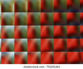 Vibrant multi-colors squares of changing colors, red and green jewel tones.
