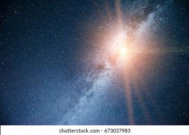 Vibrant night sky with stars and nebula and galaxy. Deep sky astrophoto.