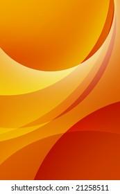 Vibrant orange background.