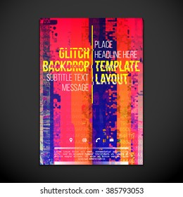 vibrant orange pink purple colored abstract digital glitch art design vertical flyer poster banner template isolated dark background
