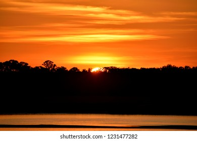 Vibrant orange sunset over the river St. Augustine, Florida