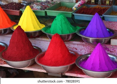 Vibrant paint colors on a paint market in Mysore, South India
