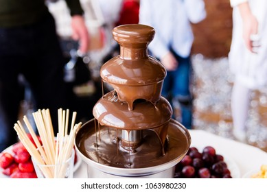 Vibrant Picture of Chocolate Fountain Fontain on childen kids birthday party with a kids playing around and marshmallows and fruits dip dipping into fountain