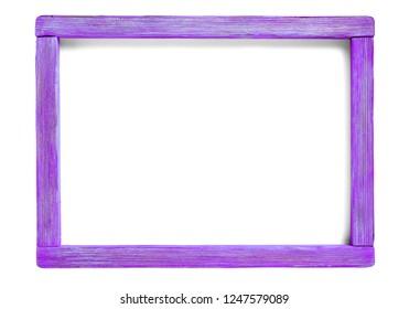 vibrant purple wood blank frame isolated