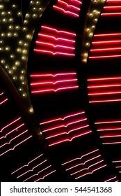 Vibrant Red Las Vegas Casino Neon Lights Signage Background