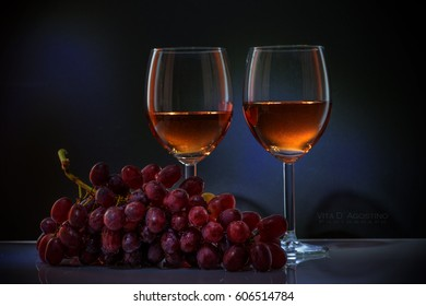 Vibrant rose wine with grapes