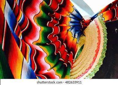 Vibrant Sombrero and mexican blaket/sarape festive decoration