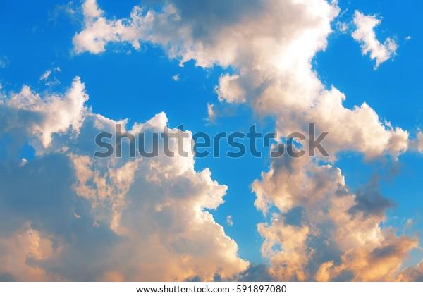Vibrant summer sky background.