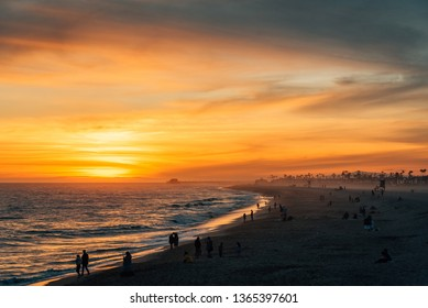 Vibrant sunset over the beach from the Balboa Pier, in Newport Beach, Orange County, California