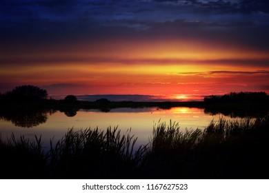 Vibrant sunset over a duck pond framed by bullrushes